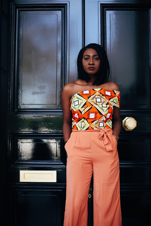 ankara styles, off shoulder ankara top with orange pants
