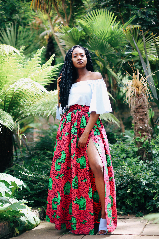 ankara print, ankara maxi skirt with a high slit